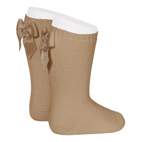 Garter stitch knee high socks with bow CAMEL