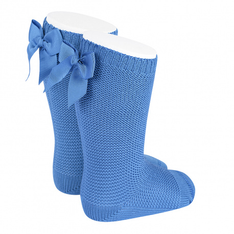 Garter stitch knee high socks with bow MAYAN
