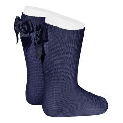 Chaussettes hautes point mousse avec noeud BLEU MARINE