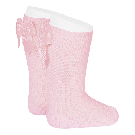 Garter stitch knee high socks with bow PINK