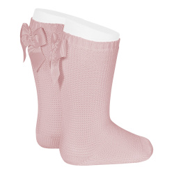 Garter stitch knee high socks with bow PALE PINK