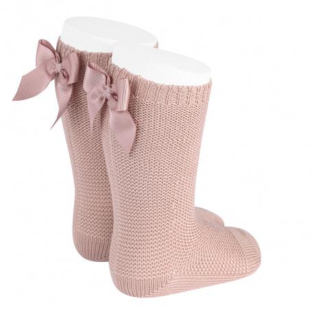 Chaussettes hautes point mousse avec noeud VIEUX ROSE