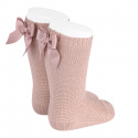 Garter stitch knee high socks with bow OLD ROSE
