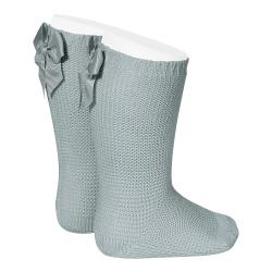 Chaussettes hautes point mousse avec noeud VERT SEC