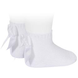 Chaussettes point mousse avec noeud BLANC