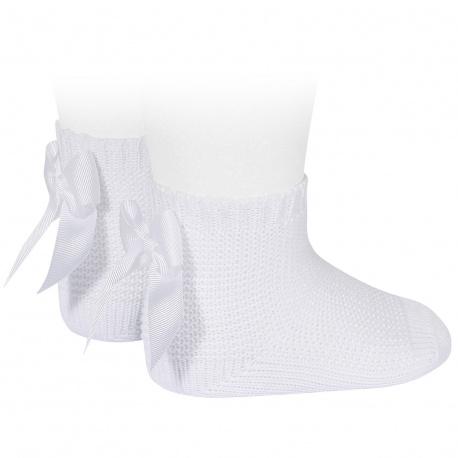 Garter stitch short socks with bow WHITE