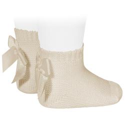 Chaussettes point mousse avec noeud LIN