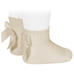 Garter stitch short socks with bow LINEN