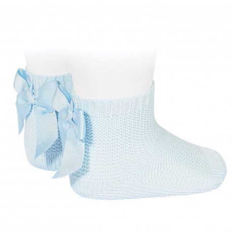 Garter stitch short socks with bow BABY BLUE