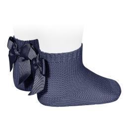 Chaussettes point mousse avec noeud BLEU MARINE