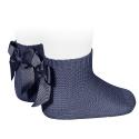 Garter stitch short socks with bow NAVY BLUE