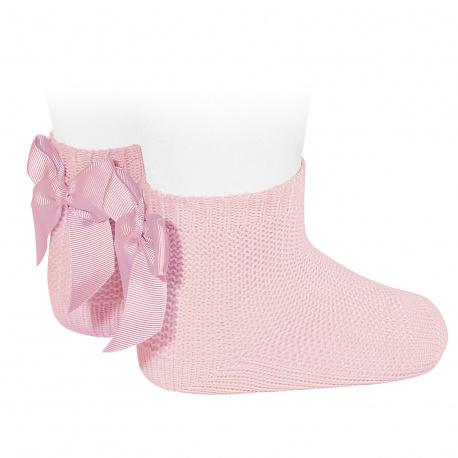 Chaussettes point mousse avec noeud ROSE