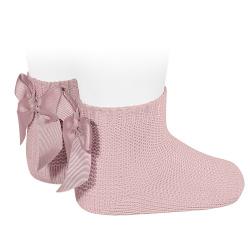 Chaussettes point mousse avec noeud PALE ROSE