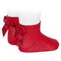 Garter stitch short socks with bow RED