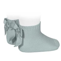 Garter stitch short socks with bow DRY GREEN