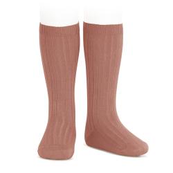 Chaussettes hautes côtelées TERRACOTA