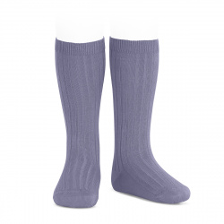 Chaussettes hautes côtelées LAVANDE