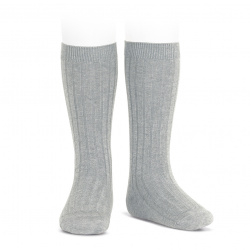 Basic rib knee high socks ALUMINIUM