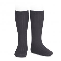 Chaussettes hautes côtelées CHARBON