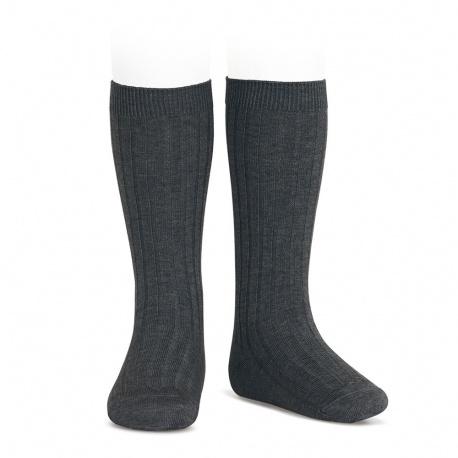 Chaussettes hautes côtelées ANTHRACITE