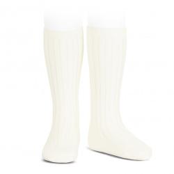 Basic rib knee high socks BEIGE