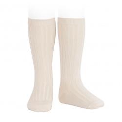 Basic rib knee high socks LINEN