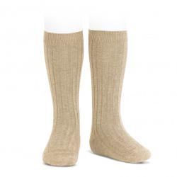 Chaussettes hautes côtelées NOUGAT