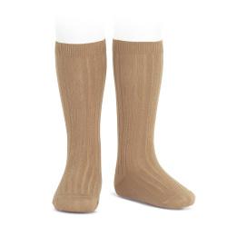 Basic rib knee high socks CAMEL
