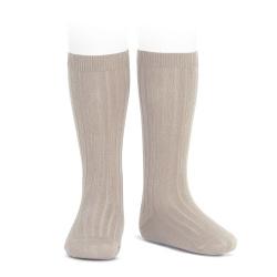 Basic rib knee high socks STONE