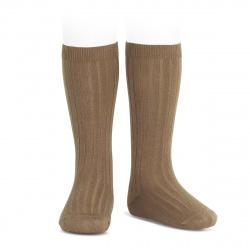 Chaussettes hautes côtelées TABAC