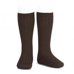 Basic rib knee high socks BROWN