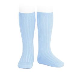 Chaussettes hautes côtelées BLEU BEBE