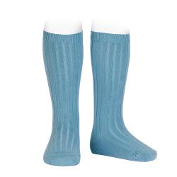 Basic rib knee high socks CLOUD