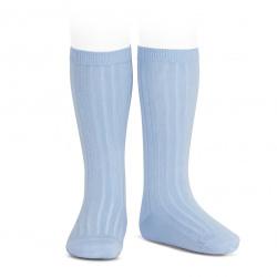 Chaussettes hautes côtelées BLEU CLAIR
