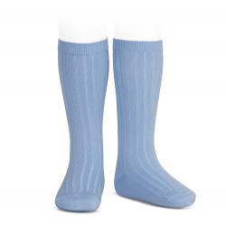 Chaussettes hautes côtelées BLEUTE