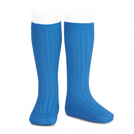 Chaussettes hautes côtelées GROS BLEU