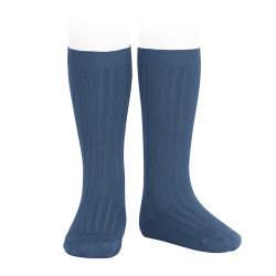 Basic rib knee high socks COBALT