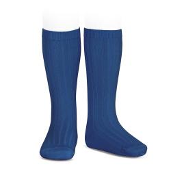 Basic rib knee high socks INDIGO BLUE