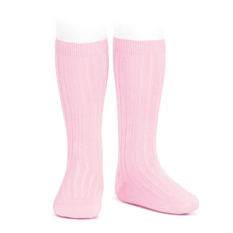 Calze lunghe basic a coste ROSA