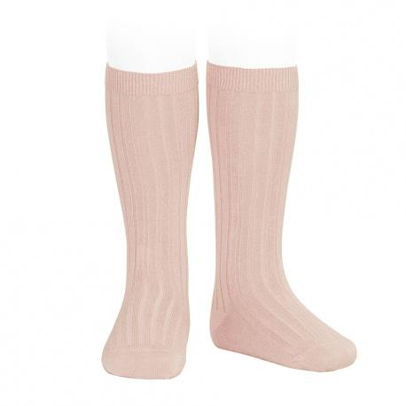Chaussettes hautes côtelées VIEUX ROSE