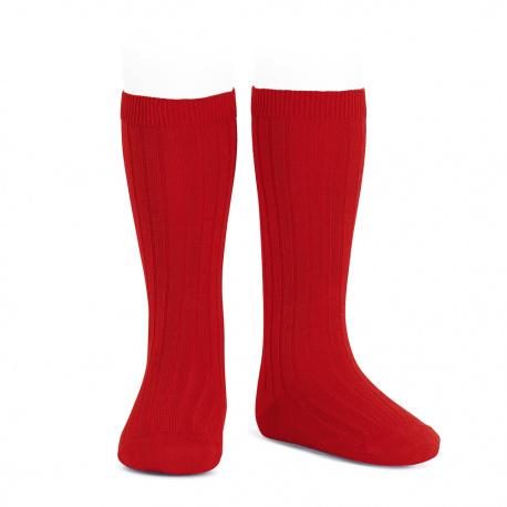 Chaussettes hautes côtelées ROUGE