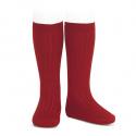 Basic rib knee high socks CHERRY