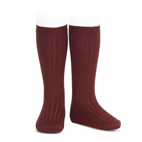 Chaussettes hautes côtelées GRENAT