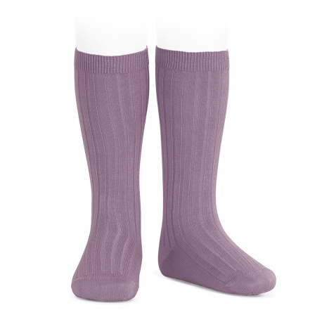 Basic rib knee high socks AMETHYST