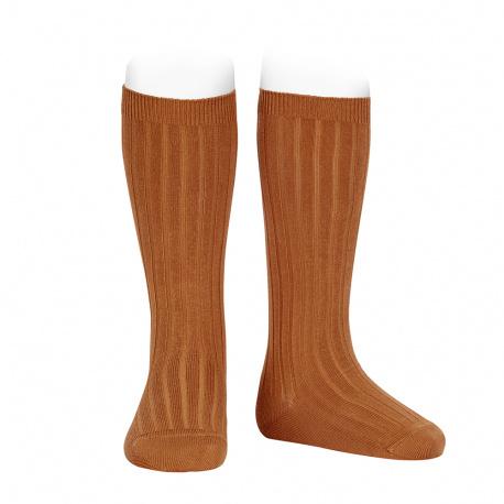 Chaussettes hautes côtelées CANNELLE