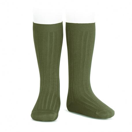 Basic rib knee high socks SEAWEED