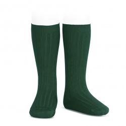 Basic rib knee high socks BOTTLE GREEN