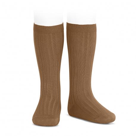 Basic rib knee high socks TOFFEE