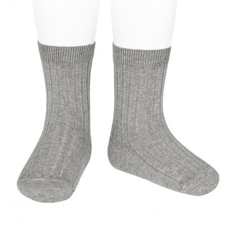 Chaussettes courtes côtelées basiques ALUMINIUM