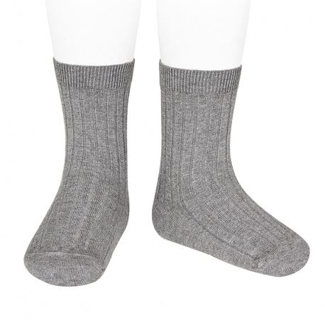 Basic rib short socks LIGHT GREY